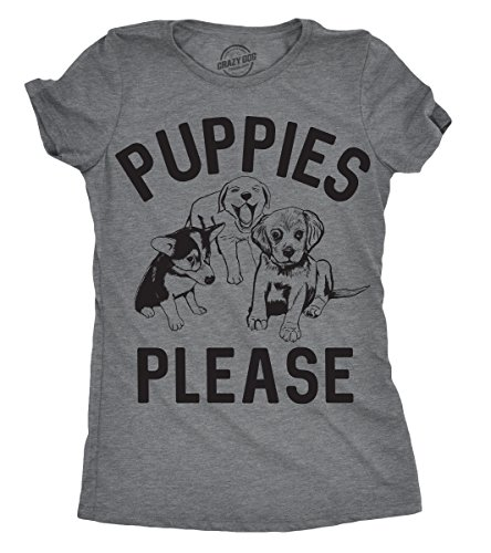 Crazy Dog Tshirts Womens Puppies Please Tshirt Cute Adorable Dog Lover Tee For Ladies -S - Damen - S (Puppy T-shirt Tee)
