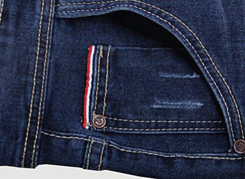 Heheja Herren Jeanshosen Hohe Taille Straight Denim Hose Übergröße Elastizität Jeans Blau