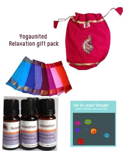 Yoga Malai - Coffret Cadeau Relaxation - Coussinet Yeux Biologique, CD, Huile Essentielle Pure de Lavande