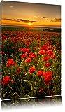 Wunderschöne Mohnwiese im Sonnenuntergang Format: 60x40 auf Leinwand, XXL riesige Bilder fertig gerahmt mit Keilrahmen, Kunst
