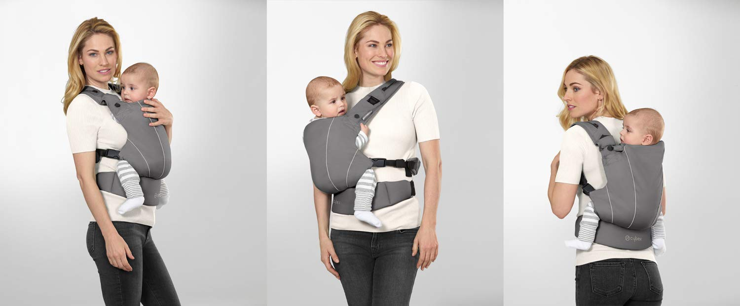 "CYBEX Gold MAIRA.click Ergonomic Baby Carrier, From birth to approx. 2 years (approx. 3.5 - 15 kg), 100% Cotton, Manhattan Grey  Comfortable and versatile adjustable baby carrier: For ergonomic carrying and healthy hip development in babies - Suitable from birth to approx. 2 years (approx. 3.5 - 15 kg), Recommended by the ""International Hip Dysplasia Institute"" Quick and easy putting on/taking off due to practical buckle system, Individually and continuously adjustable, Optimum wearing safety due to safety buckle on the waist belt Width and height-adjustable belt for individual adaptability, Multi-functional head and neck support, Promotes healthy development of the joints through natural squat position 6"
