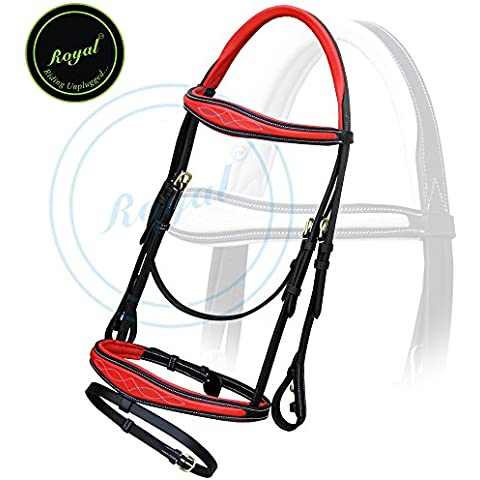 Royal Fancy Anatomic Raised Red Padded Bridle
