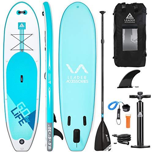 Leader Accessories Tabla Paddle Surf Hinchable 320x81.28x15.24cm con Bomba de Acción Doble,...