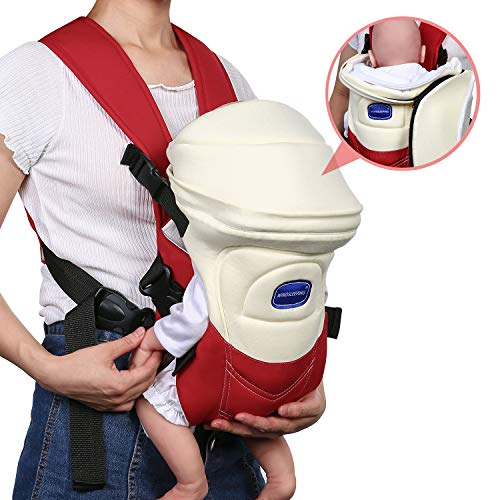 Windsleeping Baby Carrier Portable Front Baby Sling Detachable Perfect for Nursing 3 Months to 6 Months Infant and Toddlers - Red  Windsleeping