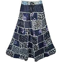 Mogul Interior Ladies Patchwork Skirt Ethnic Swirl Style Gypsy Skirts Rayon Vintage Banjara Skirts