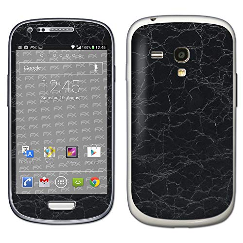 bel mit Samsung Galaxy S3 Mini GT-i8190, Designfolie Sticker (FX-Rugged-Leather-Black), Grobe Leder-Struktur ()