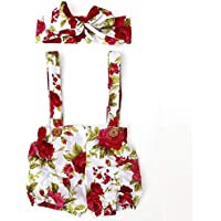 Sanzhileg 2pcs / Set Fashion Trendy Hosenträger Shorts mit Abnehmbaren Schultergurte + Kopfschmuck mit süßen schönen Blumendruck für Mädchen - Rot & Weiß 100