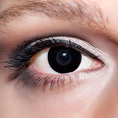 KwikSibs farbige Kontaktlinsen, schwarz, Hexe, weich, inklusive Behälter, K503, BC 8.6 mm / DIA 14.0 / -2,50 Dioptrien, 1er Pack (1 x 2 Stück)