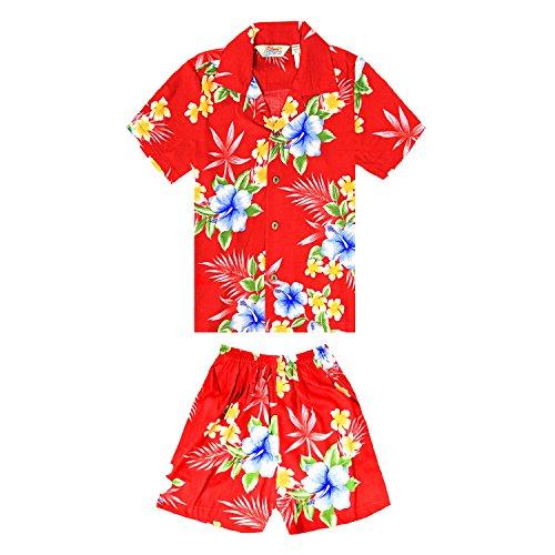 Chico-Camisa-hawaiana-o-conjunto-de-cabaa-en-rojo-hibisco