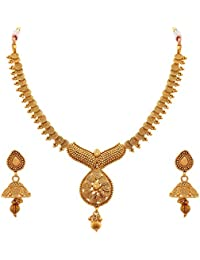 BFC- Buy For Change One Gram Gold Plated Copper Spiral Design Necklace Set With Jhumka Earring For Girls & Women