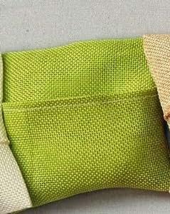 Confezione 10 pezzi, Bomboniera, portaconfetti cuscino iuta 11x11 (ck1590) (Verde)