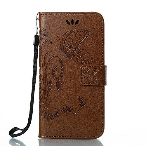 EKINHUI Case Cover Horizontale Folio Flip Stand Muster PU Leder Geldbörse Tasche Tasche mit geprägten Blumen & Lanyard & Card Slots für iPhone X ( Color : Blue ) Coffee