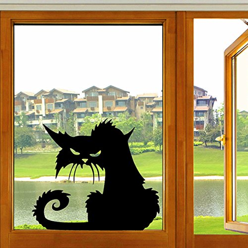 Yongse Halloween Scary schwarze Katze Glas Aufkleber Halloween (Dekor Gläser Halloween)