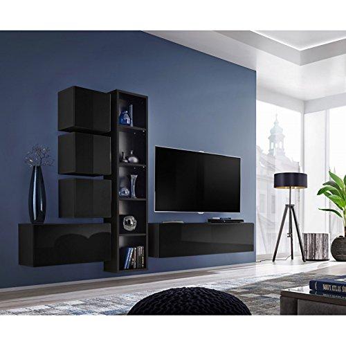 Paris Prix - Meuble TV Mural Design blox III 280cm Noir