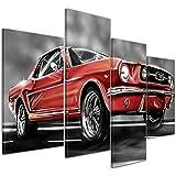 """Bilderdepot24 Cuadros en Lienzo """"Mustang Graphic - rojo"""" - 120x80 cm 4 piezas - Enmarcado listo Bastidor imagen. directamente desde el fabricante"""