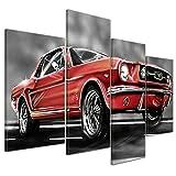 Bilderdepot24 Kunstdruck - Mustang Graphic - Rot - Bild auf Leinwand - 120x80 cm 4 Teilig - Leinwandbilder - Bilder als Leinwanddruck - Wandbild