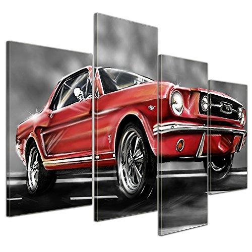 Kunstdruck - Mustang Graphic - rot - Bild auf Leinwand - 120x80 cm 4 teilig - Leinwandbilder - Motorisiert - Oldtimer - Klassiker - Amerika