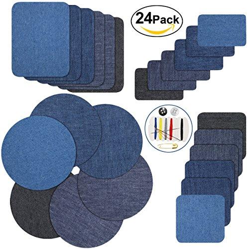 Patches Zum aufbügeln, Genux Jeans Flicken Zum aufbügeln 24 Stück 4 Farben Patch Sticker für Jeans Kleidung, 4 Größen +1 Stück Nähzeug (1)