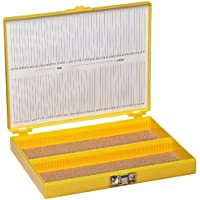 Heathrow Scientific HD15994D - Caja para portaobjetos (revestimiento interior de corcho, capacidad: 100 portaobjetos, longitud x anchura x altura: 208 mm x 175 mm x 34 mm), color amarillo