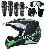 GUOGUO Casque de Moto pour Enfant Motocross Cross Off-Road Noir Mat ATV Quad...
