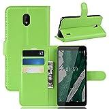 Fertuo Nokia 1 Plus Hülle, Handyhülle Leder Flip Case Tasche mit Standfunktion, Kartenfach, Magnetschnalle, Silikon Bumper Bookstyle Schutzhülle Wallet Cover für Nokia 1 Plus, Grün