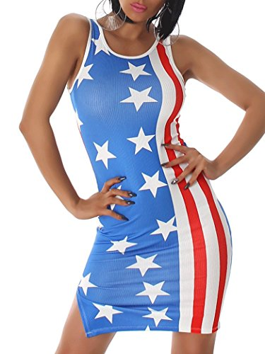 Minikleid USA Flagge Streifen Kostüm Amerika Stretch Ripp Tanktop Bunt 38 bis 40 (Flagge Kleid)