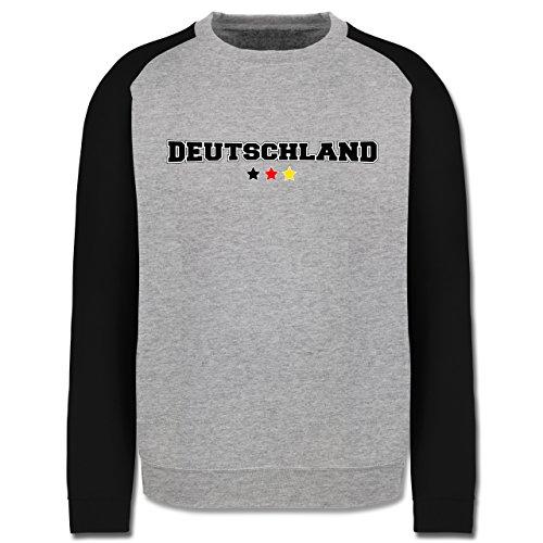 EM 2016 - Frankreich - Deutschland College Schriftzug - Herren Baseball Pullover Grau Meliert/Schwarz