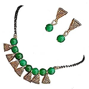 Saraa Gold Plated Oxidized Polish Metal Pearl Mangalsutra Set for Women (Green)