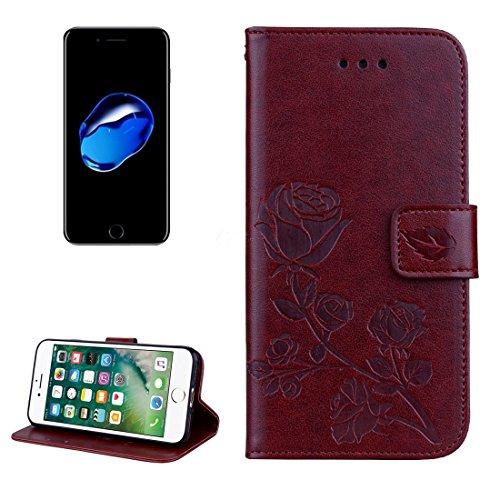 GHC Cases & Covers, Für iPhone 7, Rosen Gedrückt Blumenmuster Flip Ledertasche mit Halter & Kartensteckplätze & Brieftasche ( Color : Black ) Brown