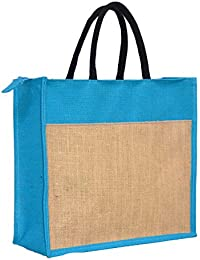 The Bag Spot Dual Color Jute Burlap Large Big Size Handbag Bag Working Office Bag To Carry Lunch Grocery Or Box...