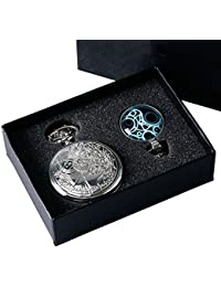 Reloj de bolsillo con cadena colgante para hombre de Yisuya, diseño de estilo retro de Doctor Who, color plateado, en caja de regalo