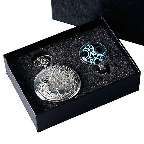 yisuya® Retro Doctor Who Silber Taschenuhr mit Silber Halskette Kette + Anhänger + Geschenk-Box
