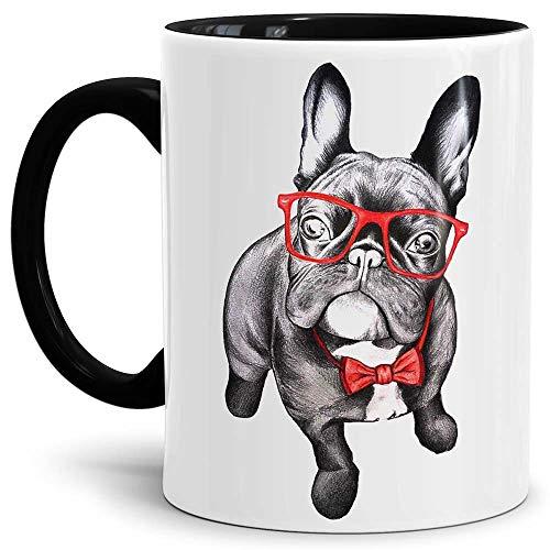 Tassendruck Hunde-Tasse Bulldogge - Kaffeetasse/Mug / Cup Innen und Henkel Schwarz - Qualität Made in Germany