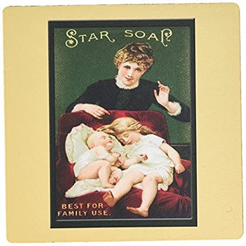 3dRose LLC 8 x 8 x 0.25 Inches Mouse Pad, Star Soap Best for Family Use Victorian Era Woman, Small Girl and Baby in A Red Chair