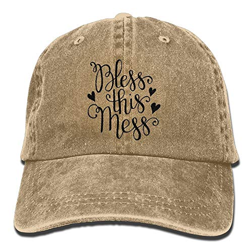 Herren Damen Baseball Caps,Hüte, Mützen, Bless This Mess Trend Printing Cowboy Hat Fashion Baseball Cap for Men and Women Black