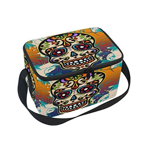 DOSHINE Tag der Toten mexikanischen Totenkopf Isolierte Lunch Box Tasche, Kühler Ice Lunch Tasche Wiederverwendbar für Männer Frauen Erwachsene Kinder Jungen Mädchen