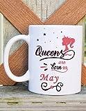 #8: alDivo Premium Quality Printed Coffee Mug 350-ml (Queens Are Born In May)