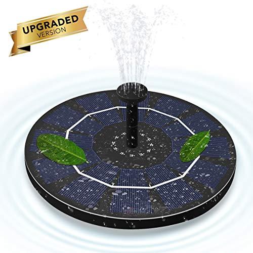 ALLOMN Solar Springbrunnen, Gartenschwimmende Solarwasserpumpe 50 cm Höhe, 4 Verschiedene Düsenköpfe, 3 Sauger, IPX8 wasserdicht, 1.8W für Gartenpflanzen -