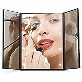 LuckyFine Specchio da Trucco, Specchio Cosmetico Pieghevole, Specchio da Tasca, Specchio Illuminato con 8 LED, Ideale per Viaggio, Lavoro