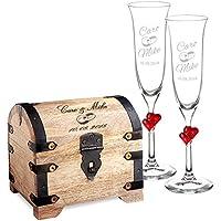 Casa Vivente – Set Cofre de Madera Clara y 2 Copas de Champagne – Motivo: