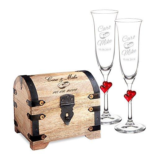 Casa vivente set matrimonio - 2 bicchieri in vetro + contenitore in legno con incisione - personalizzati con nomi e data - fedi nuziali - calici sposi - scatola regalo - regali anniversario
