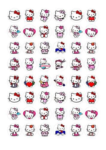 Toppershack 48 x decoración para pasteles comestibles de Hello Kitty
