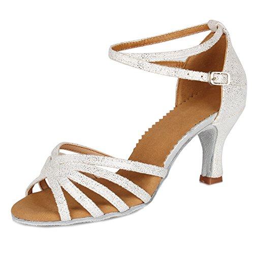 SWDZM Damen Ausgestelltes Tanzschuhe/Standard Latin Dance Schuhe Satin Ballsaal ModellD1810 Weiß 36EU/22.5CM - 2