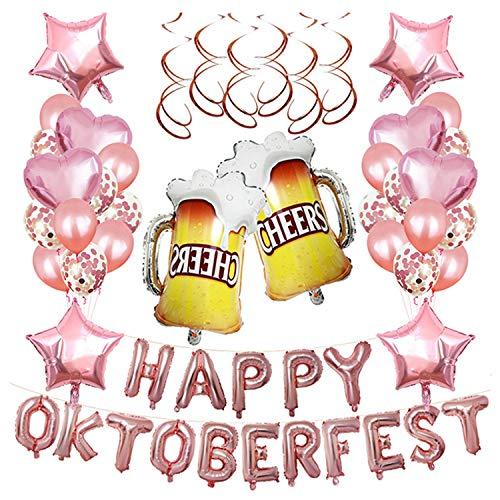 Luftballons mit hängenden Wirbel Ribbon Dot Kleber für bayerische Oktoberfest Feier Karneval Halloween Motto Party Supplies Decor Rose Gold ()