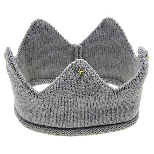 Oyedens Neue Nette Baby-MäDchen Stricken Stirnband Hut Krone (Grau)