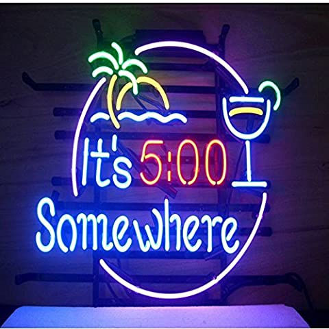 It's 5:00 Somewhere Real Glass Neon Light Sign Home Beer Bar Pub Recreation Room Game Room Windows Garage Wall Sign (17