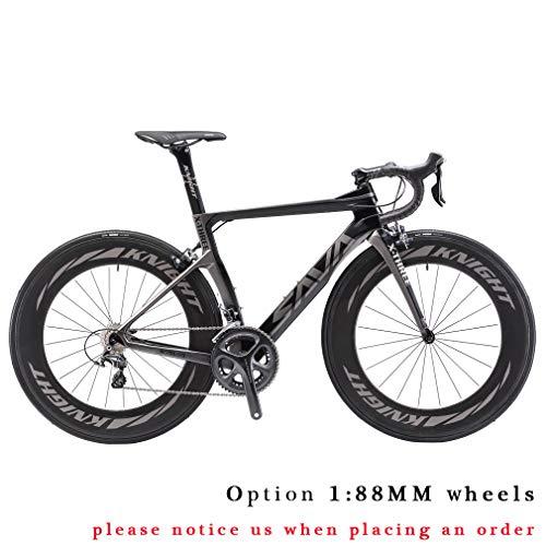 Carbon Rennrad,SAVADECK Phantom3.0 700C Rennrad Kohlefaser Rennräder Fahrrad Shimano Ultegra 8000 22 Speed Group Set mit Michelin 700C*25C Reifen und Fizik Sattel (54cm, Grau)