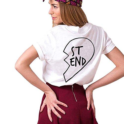 JWBBU Damen Best Friend T-shirt Sommer Baumwolle Oberteil mit dem Aufdruck 1 Stück,L, Weiß, (Baumwoll-t-shirt Und 1)