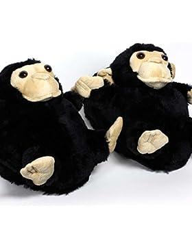 Sleeper'z Rutschfeste Plüsch-Hausschuhe Affe