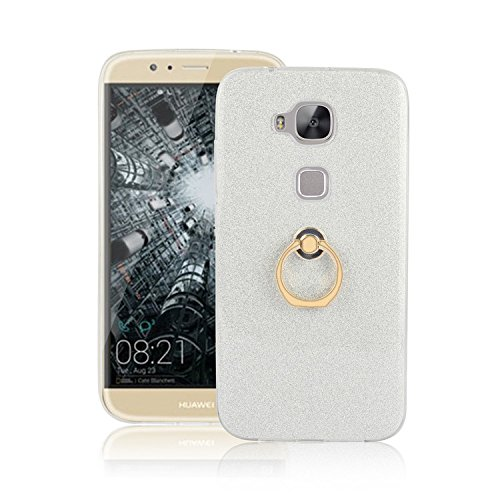 Huawei G8 Hülle , Ranrou TPU Soft Sparkle Powder Back Cover with 360 Degree Rotating Ring Stent forHuawei G8(Silver)